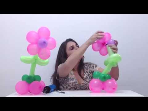 como fazer um centro de mesa - flor de balões