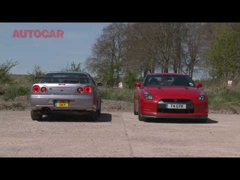 r34 - Nissan GT-R meets its ancestor, more videos hi-res pics and full details at; http://www.autocar.co.uk/CarReviews/RoadTestsHistory/Nissan-GT-R-3.8-V6-Black-Ed...
