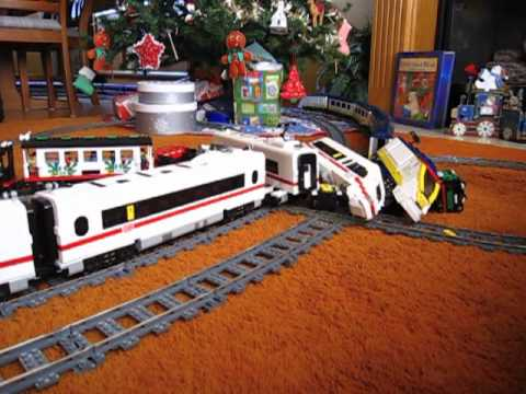 High Speed Model Train Crash – Lego 9v vs Eurostar Models