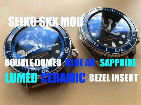 Seiko SKX MODS - LUMED CERAMIC BEZEL INSERTS + BLUE AR DOMED SAPPHIRE + MOVEMENT UPGRADE