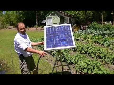 "Portable Solar Water Pump/ no Battery Water Garden, Tripod Mount. ""America Unplugged"" Episode 5"