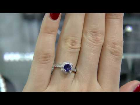 0.62 Carat Sapphire and Diamond Flower Halo Ring GR014
