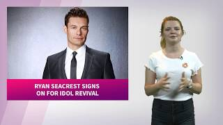 """The spring 2018 revival of American Idol on ABC has signed on Ryan Seacrest. Seacrest will fill his old shoes as host while Katy Perry has signed on as a judge of the show.http://www.celebified.com - Get the hottest scoop on your favorite stars, TV shows, movies, and more!http://www.facebook.com/Celebified - 'Like' us and join in on the gossip fest!http://www.twitter.com/Celebified - Follow us for regular entertainment buzz and behind-the-scenes snaps from our red carpet visits, exclusive interviews, and more!Ryan Seacrest has signed on to the ABC revival of American Idol!ABC confirms that Ryan Seacrest will return as host for the 2018 revival.Seacrest made his announcement on Live With Kelly And Ryan saying, """"I believe ABC is the perfect home for Idol, and I've every confidence the show's legions of fans will love it.""""Katy Perry is also signed on as a judge for the upcoming reboot.Are you on-board for an Idol revival now that Seacrest's IN? Sound off in the comments, and as always stick with us at Celebified for the latest TV scoop I'm Katie, see you next time!"""