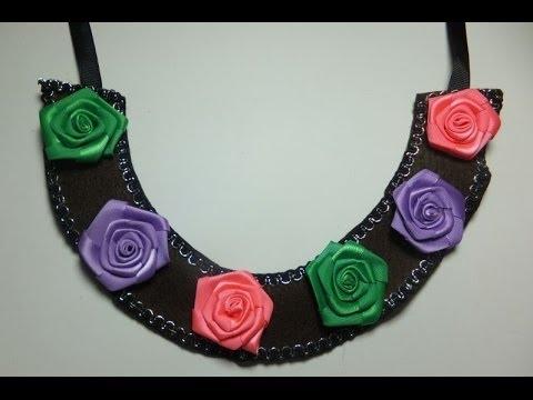 Descubre cómo hacer un collar babero utilizando rosas hechas con tela