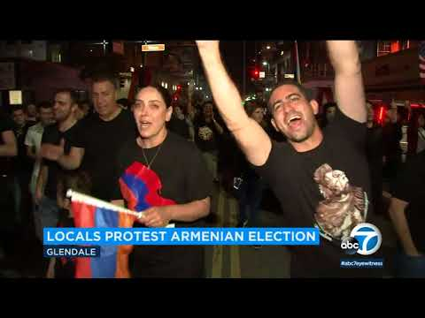 Glendale Armenians protest election results | ABC7 (видео)