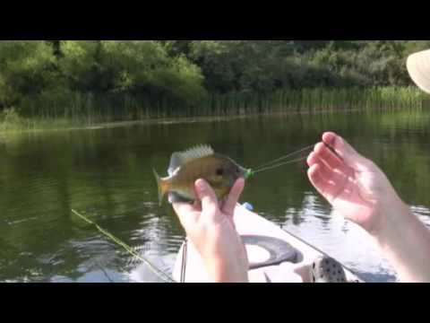 Kayak fly fishing for panfish