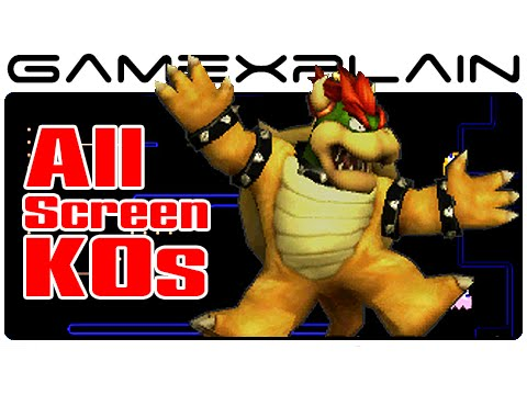 screen - http://www.GameXplain.com Check out what every character in Super Smash Bros 3DS screen-KO looks like when they get Knocked-Out and smashed into the screen with our video compilation showing...