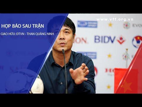 HLV Nguyễn Hữu Thắng trả lời phỏng vấn báo chí sau trận đấu tập của ĐTVN với CLB Than QN