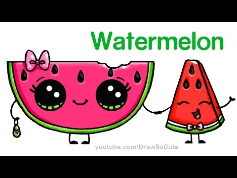 Video How to Draw Watermelon Easy - Cartoon Food download in MP3, 3GP, MP4, WEBM, AVI, FLV January 2017