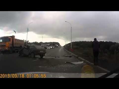 УЖАСНАЯ Авария на шоссе!Видеорегистратор все записал! ЖЕСТЬ!!!