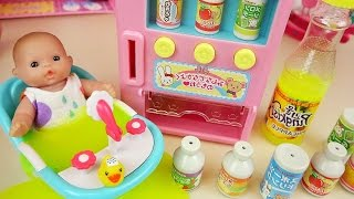 Baby doll vending machine slime drinks and surprise eggs toys play