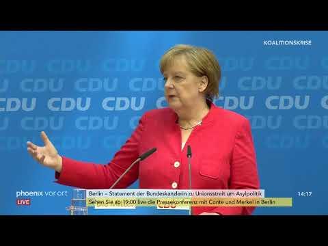 Angela Merkel (CDU): Pressekonferenz zum Unionsstreit ...