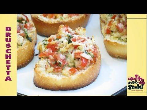Receita fácil e prática - Bruschetta de tomate (com legenda) - Cozinha prática