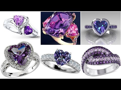 Genuine Amethyst White Gold Engagement Rings Style