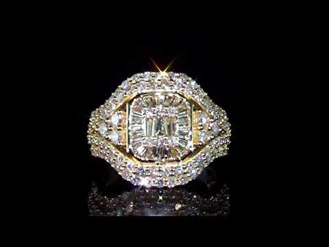 Lady's 14k Yellow Gold 2.35ct (TDW) Cluster Diamond Ring
