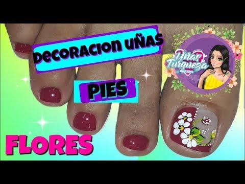 Decoracion de uñas - Diseño de uñas pies de flores / Easy flowers toenail