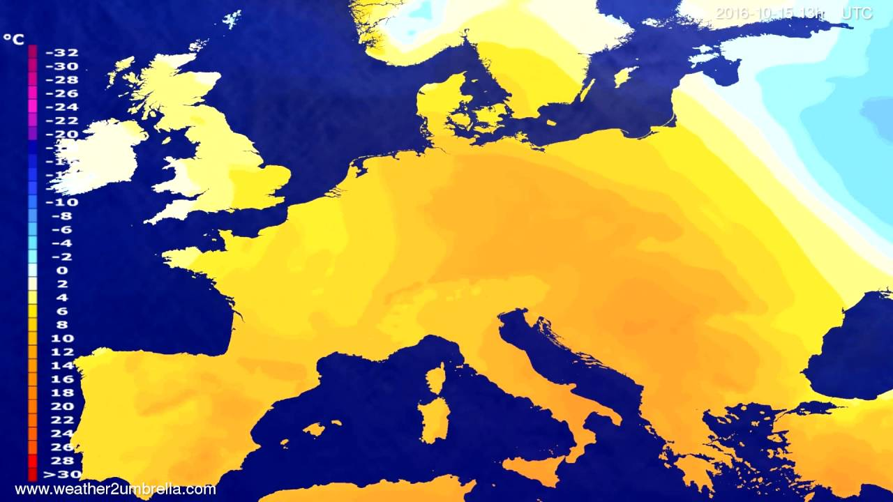 Temperature forecast Europe 2016-10-12