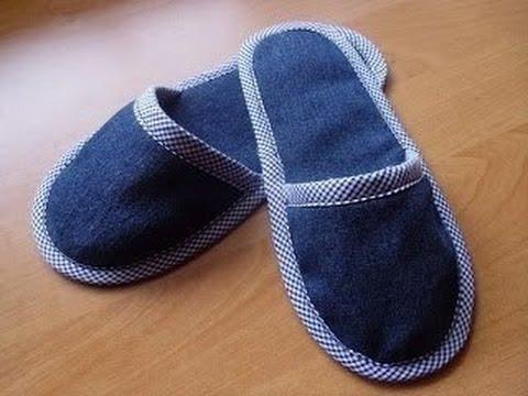Как сделать тапочки из джинс