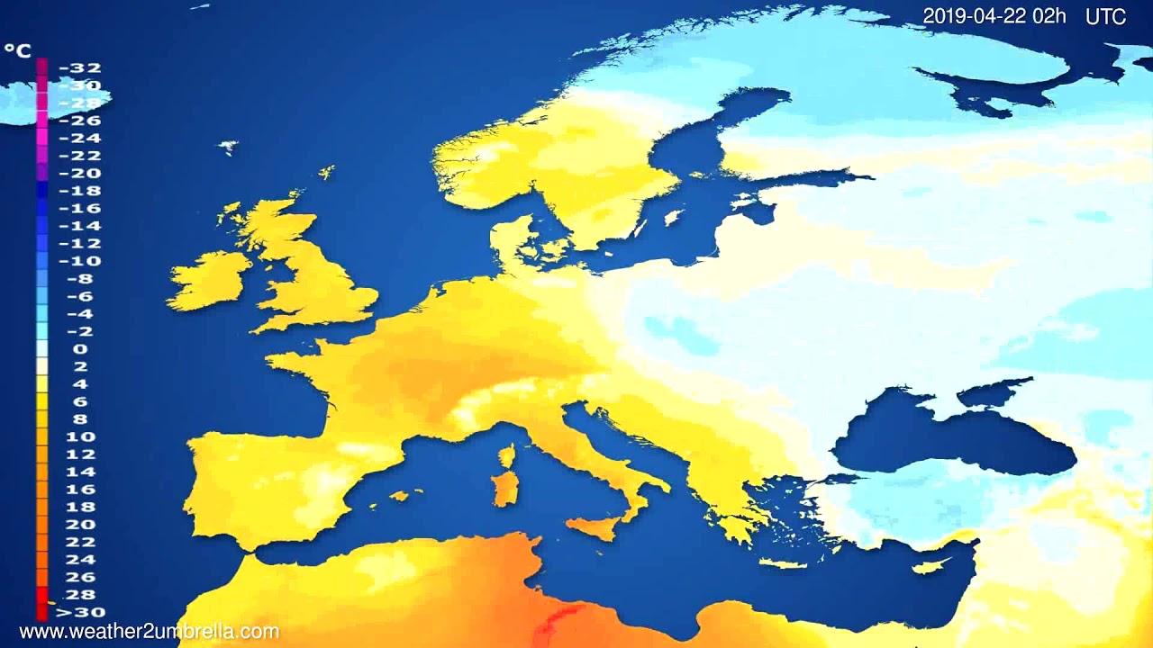Temperature forecast Europe // modelrun: 00h UTC 2019-04-19