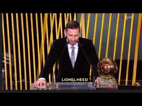 Messi speeches after his 6th Ballon d'or discursos messi después del Balón de Oro