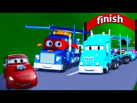 Carl el Super Camión y el Porta Autos en Auto City | Dibujos animados para niños
