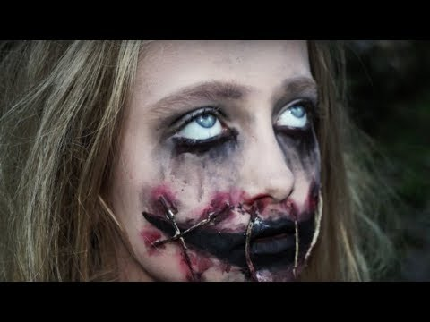 Creepy Girl With Ripped Mouth Halloween Makeup Tutorial