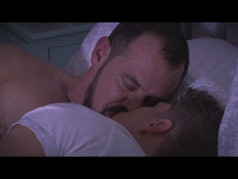 Muscle gay daddy soothing & kissing his younger lover