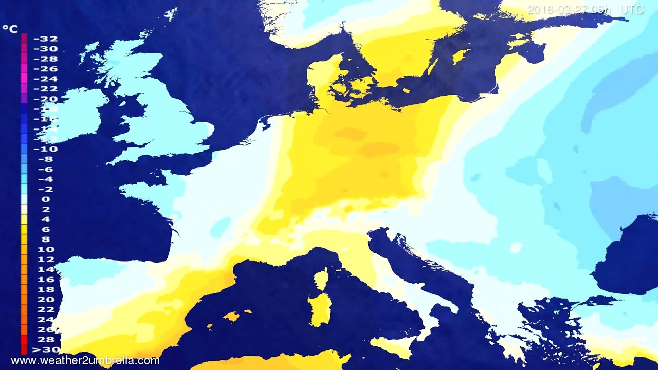 Temperature forecast Europe 2016-03-24