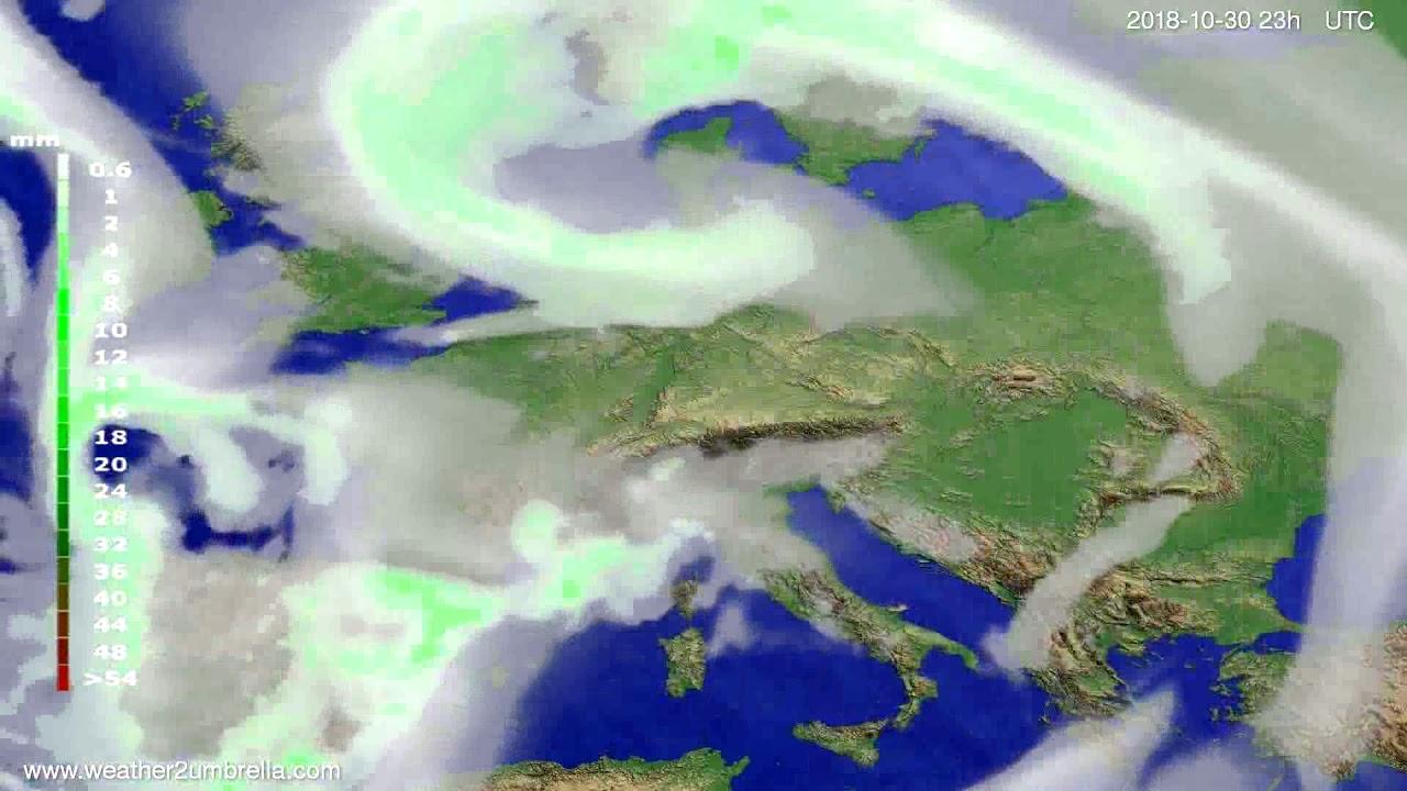 Precipitation forecast Europe 2018-10-27
