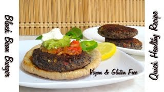 Quick Healthy Black Bean Burger Video Recipe by Bhavna - Vegan & Gluten Free