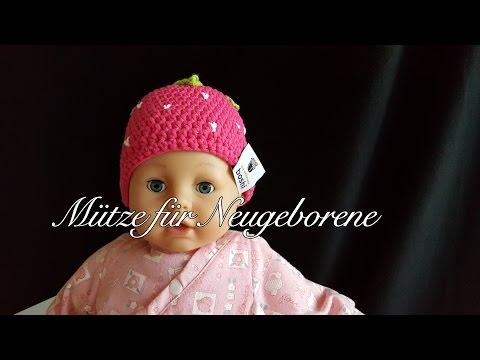 Mütze für Neugeborene   Erdbeerboshi Häkelanleitung   Babymütze selber häkeln