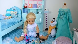 American Girl Doll Disney Frozen Elsa's Bedroom ~ Watch in HD!