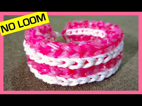 How to Make a Rainbow Loom Four-row Fishtail Bracelet without Loom/ on 2 Forks