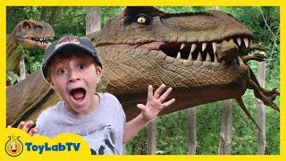 It's an awesome Jurassic Adventure as Park Ranger LB and Park Ranger Aaron find lots of GIANT life-size animatronic Dinosaurs ...