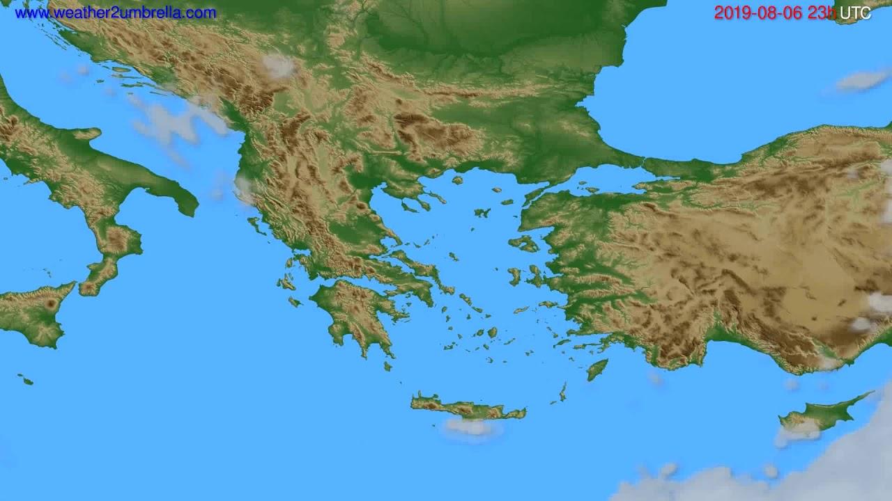 Cloud forecast Greece // modelrun: 12h UTC 2019-08-03