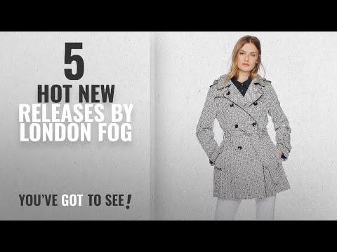 Hot New London Fog Women Clothing [2018]: London Fog Women's Graphic Print Trench Coat, Black/White,