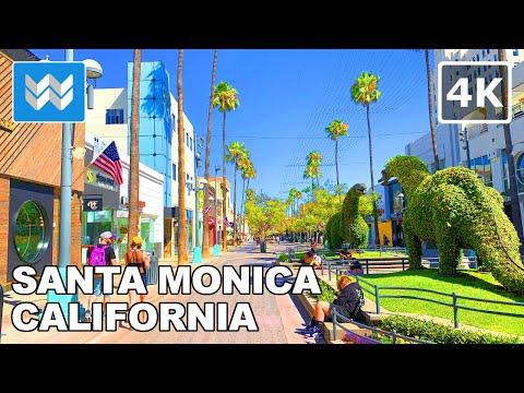 Walking tour of Santa Monica in Los Angeles, California USA 2020 Travel Guide 🎧【4K】