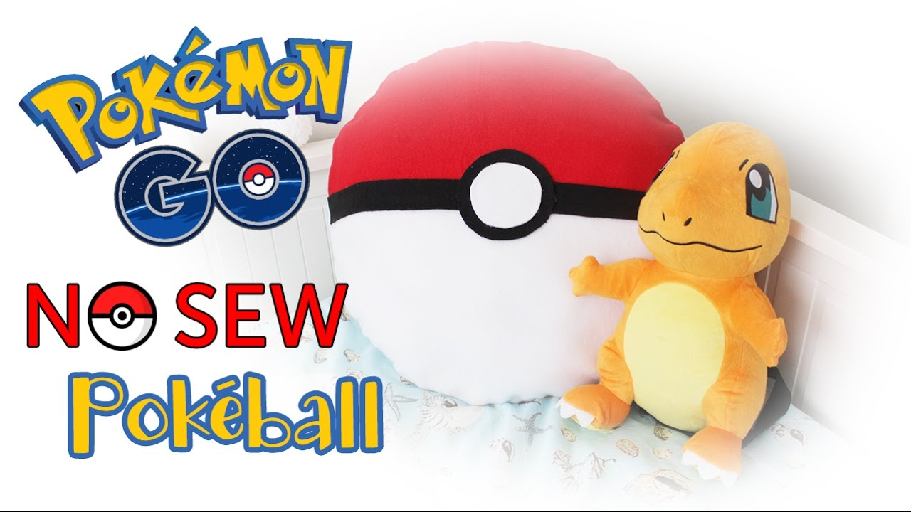 DIY Pokeball Throw Pillow Project:  NO SEW - Pokemon GO |Fun Room Decor