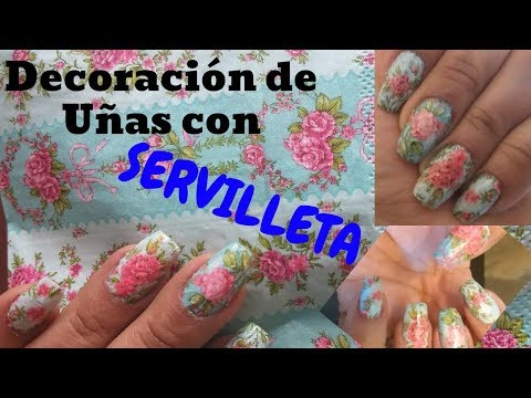 Decorados de uñas - Decoración de Uñas Con SERVILLETAS DE PAPEL  / Decopage (Nails art)