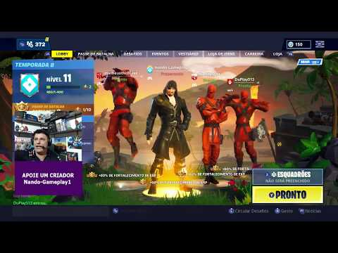 Fortnite -INSCREVA-SE E JOGUE AO VIVO (SQUAD) - #fortnite #jogos #nando #xbox #ps4 #pc