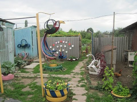 Чем украсить сад из подручных материалов