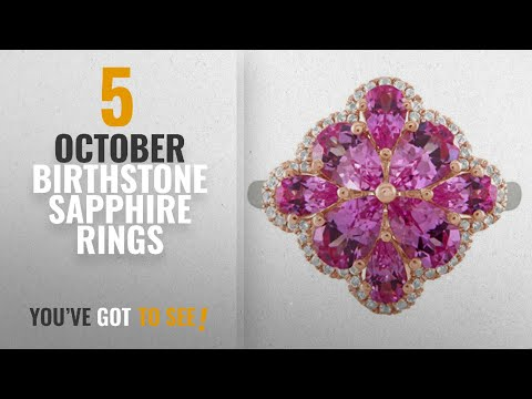 10 Best October Birthstone Sapphire Rings: Lab-Created Pink and White Sapphire Cluster Ring in Rose