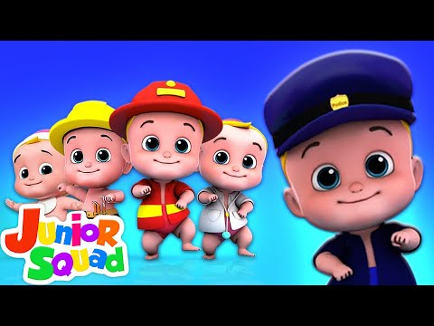 Five Little Babies Jumping On The Bed | Nursery Rhymes Songs For Kids By Junior Squad