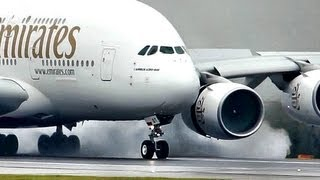 "Video Emirates / Airbus a380 ""SuperJumbo"" Landing at a Wet rwy at Manchester (Full HD1080p) MP3, 3GP, MP4, WEBM, AVI, FLV Januari 2019"
