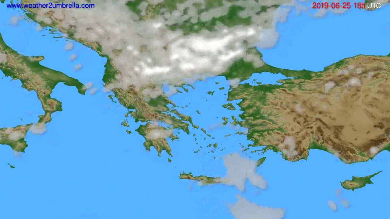 Cloud forecast Greece // modelrun: 12h UTC 2019-06-23
