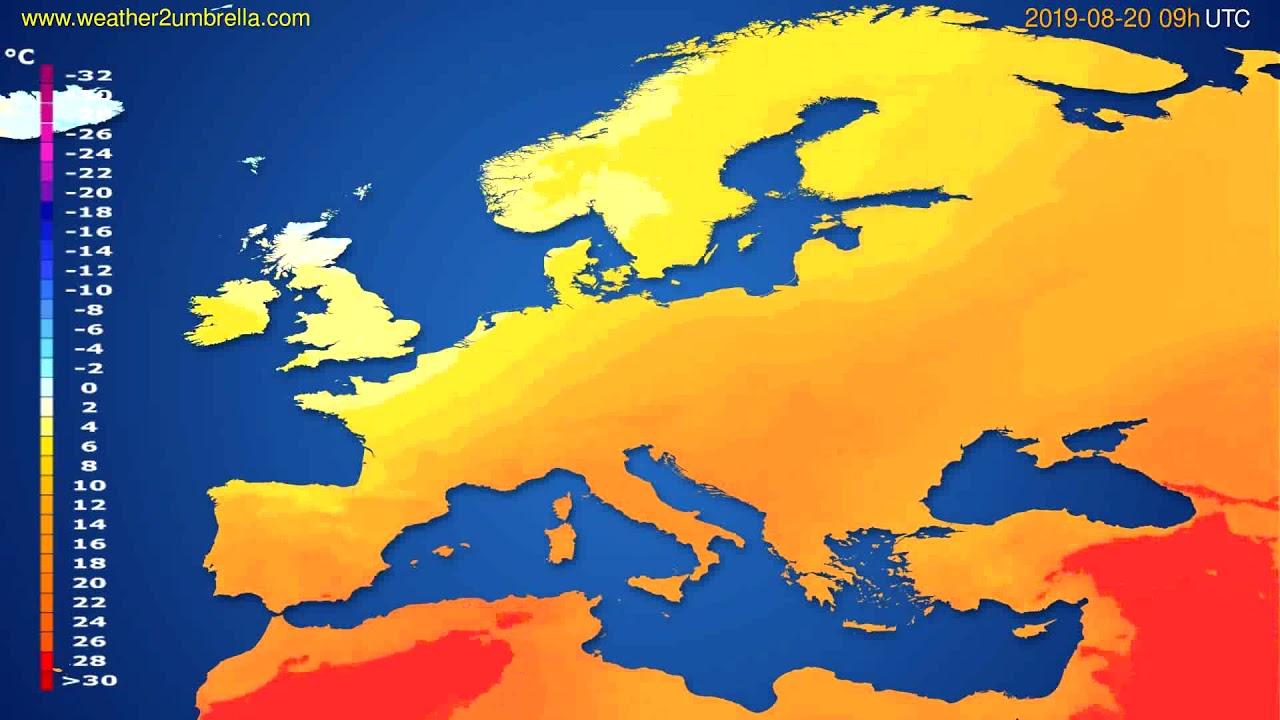Temperature forecast Europe // modelrun: 00h UTC 2019-08-18