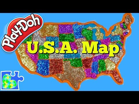 U.S. Map for Kids! Learn the United States of America! Play-Doh Puzzle of The U.S.A.