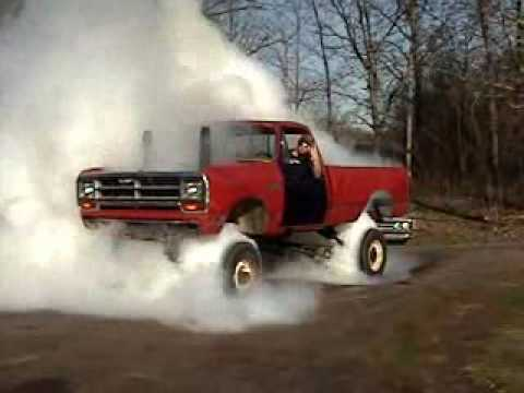 Truck does a burnout on all fours