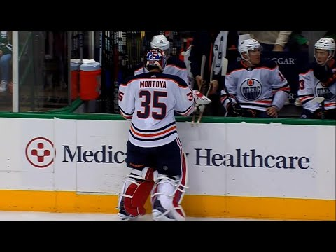 Video: Talbot gets yanked, Montoya debuts for Oilers