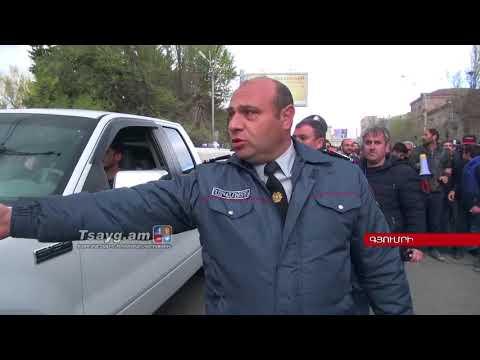 Գյումրեցի ցուցարարները Թատերական հրապարակից շարժվել են դեպի  Անի թաղամաս Тsауg.ам - DomaVideo.Ru